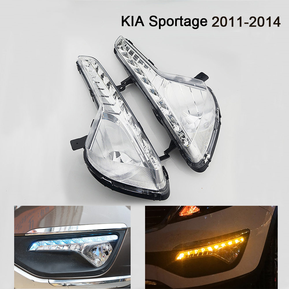 2 Pcs LED Daytime Running Light Driving Light DRL Fog Lamp Cover Car-styling For KIA Sportage DRL 2011 2012 2013 2014 led front fog lights for honda cr v pilot 2012 2013 2014 car styling round bumper drl daytime running driving fog lamps