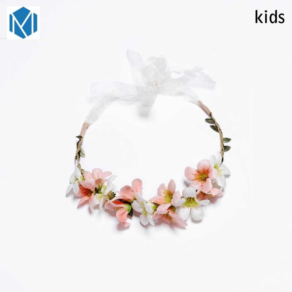 M MISM ดอกไม้ Headband หัวผม Wrape อุปกรณ์เสริมผมเจ้าหญิง Tiara Headwear เด็ก cintas para el pelo ของขวัญ