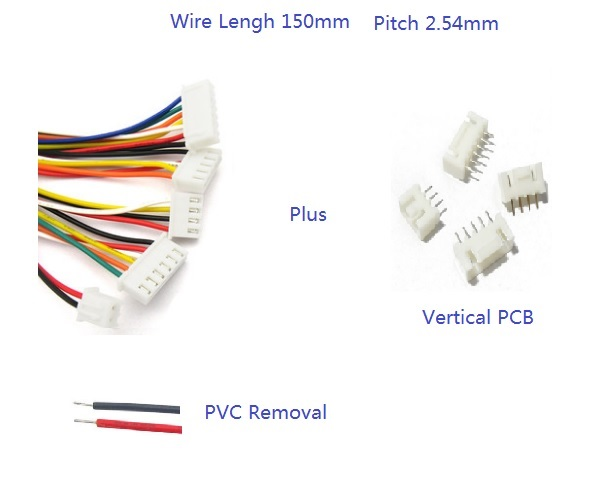 100 Sets XH2.54 JST 2.54 mm Pitch Top Entry 2 3 4 5 6 7 8 9 10 Pin Crimp 600 mm UL 1007 26 AWG Electronic Wire + Male Header