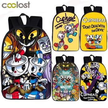 922575a5abc4 Забавный cuphead/mughead рюкзак с принтом для подростков мальчиков и ...