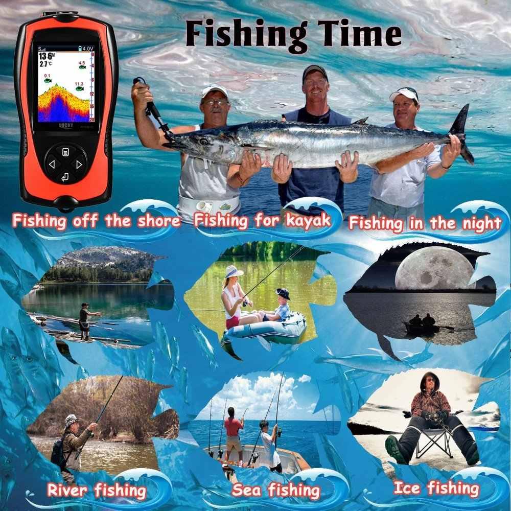 """Draadloze echo sonar sensor Sirene Draagbare fishfinder Kleur 2.4 """"LCD findfish voor de zee onderwater monitor diepte vissen"""