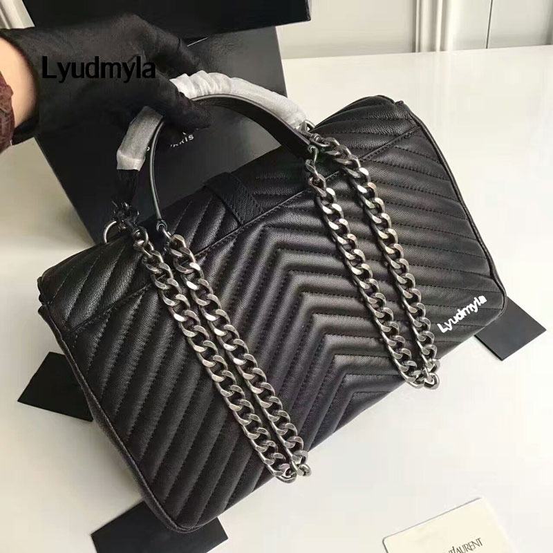 2017 Womens Bag Genuine Leather Handbag High Quality Black Leather Bags Chain Quilted Bags Plaid Shoulder Office Ladies Hand Bag