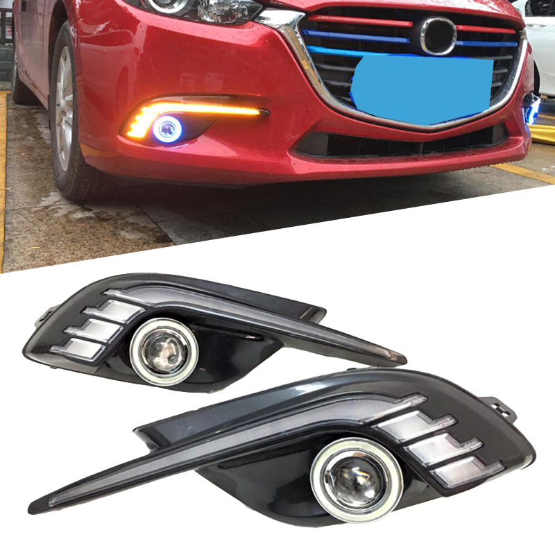Car DRL 12V LED Daytime Running Light For Mazda 3 2017 2018 Yellow Turning Signal Relay Waterproof with Angel Eye 12v led car drl turning signal
