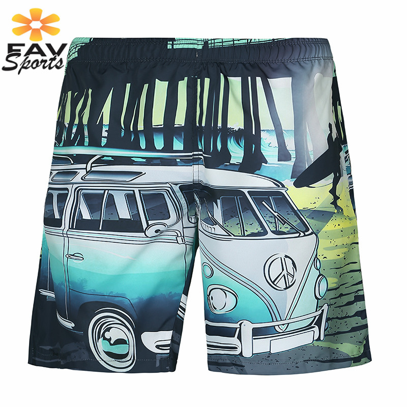 2019 Surf   Board     Shorts   Mens Quick Dry 3D Printed Swimming Pants Summer Beach Bathing suits Bermuda Sports Jogger