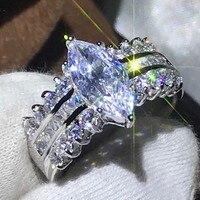 Размер 5 10, модные ювелирные изделия ручной работы, серебро 925 пробы, маркиза, прозрачный 5A CZ цирконий, женские обручальные кольца, подарок