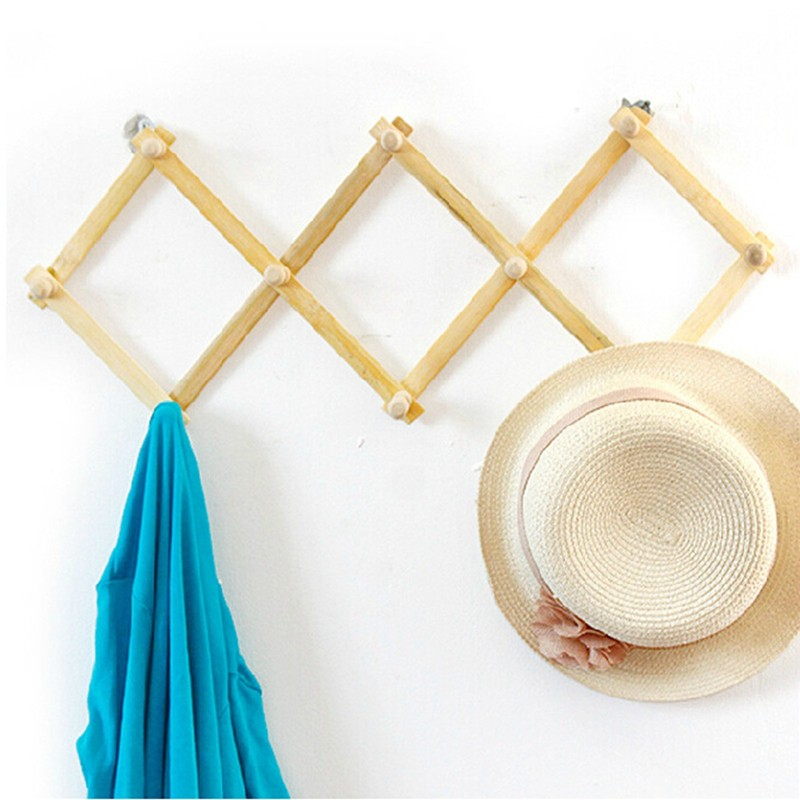 Expandable Solid Wooden Coat Hanger 10 Peg Keys Hat Towel Clothes Robe Rack Hat Closet Wall Mount Hook Fold
