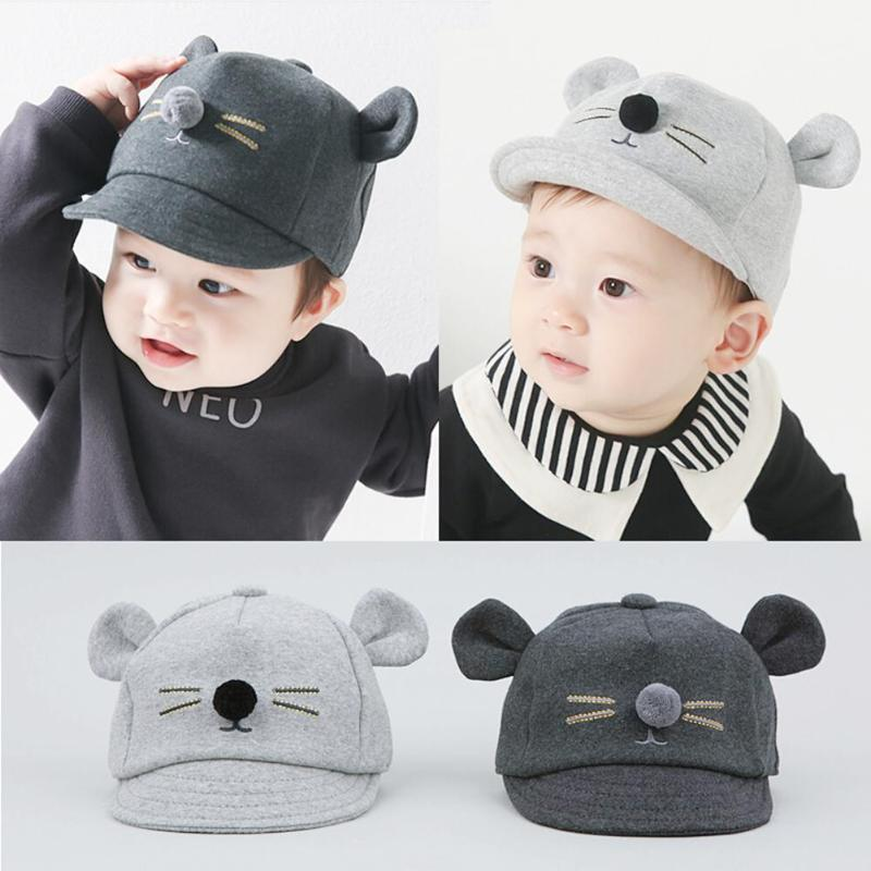 2019 New Thick Cotton Spring Summer Baby Hat Cartoon Cat design Child Warm Cat Cap Baby Cap For Boys/Girls Baby Beanies Kids Hat(China)