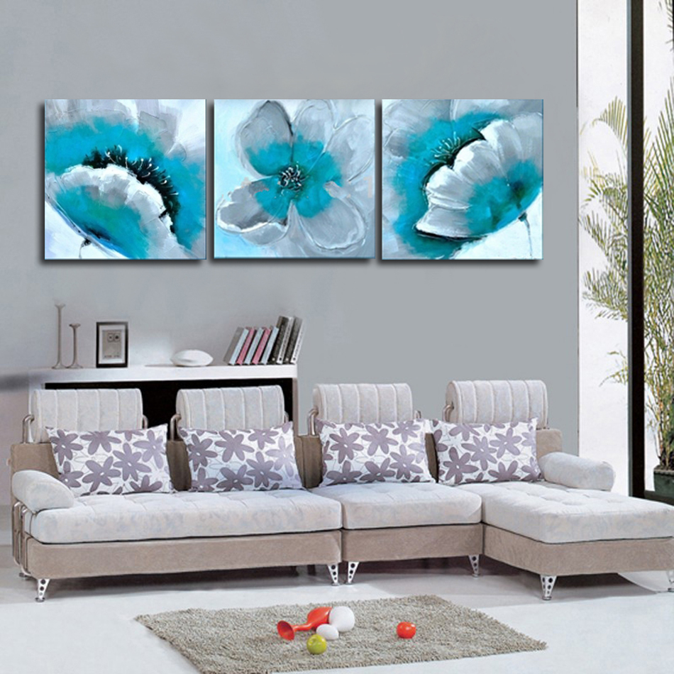 Handgemalte moderne blühende türkisfarbene Blume 3 Stück Gemälde - Wohnkultur