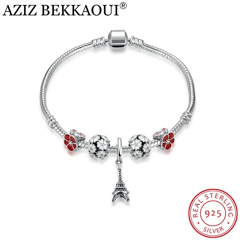 AZIZ BEKKAOUI 925 Sterling Silver Pink Primrose Meadow Charm Bracelets for Women European DIY Eiffel Tower Bracelets & Bangles eiffel tower charm bangle