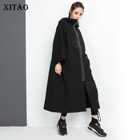 [XITAO] Europe 2018 New Autumn Fashion Women Letter Pattern Print Long Coats Female Hooded Collar Full Sleeve   Trench   GWY2287