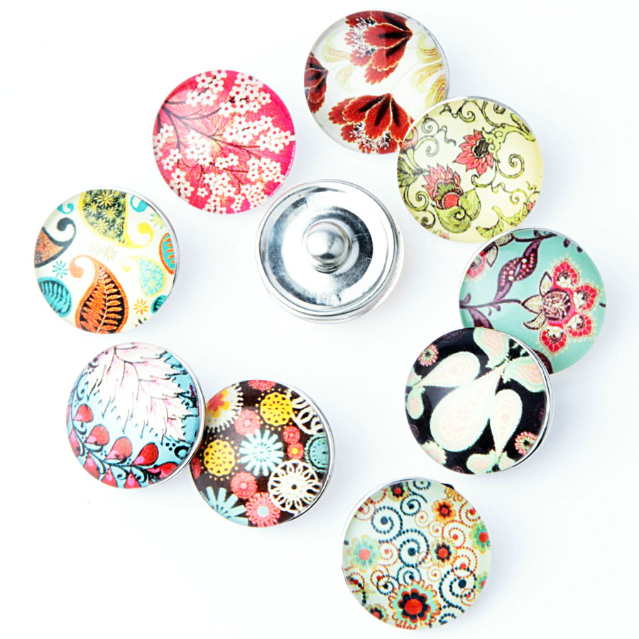 10 Pcs/lot Beautiful Flower Snap Button 18MM Round Glass Ginger Snaps Jewelry Flower Snap Charm Fit Snap Bracelet NA12-088
