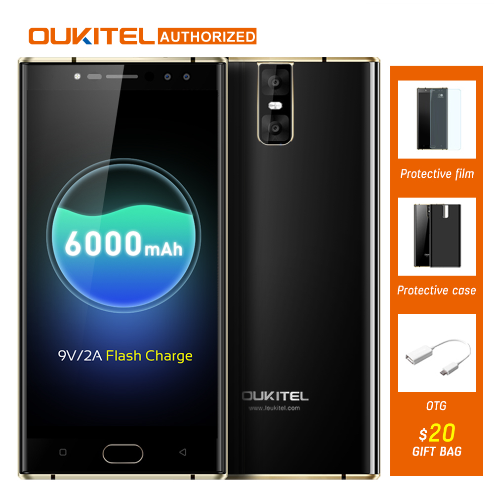OUKITEL K3 4 Telecamere 4G Smartphone 6000 mAh MTK6750T Octa Core Android 7.0 4G RAM 64G ROM 16.0MP + 2.0MP 5.5 pollice Mobile cellulare