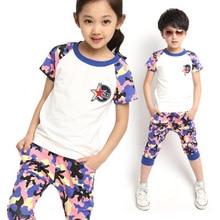 Девочек-подростков и мальчиков свободного покроя Cami печать комплект одежды для лета детская мужская Sportwear 2 шт. с коротким рукавом топ + шорты