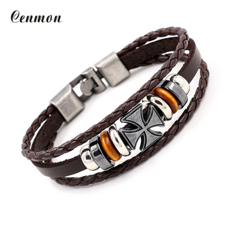 font b Bracelets b font men Multilevel Vintage leather rope chain font b bracelets b