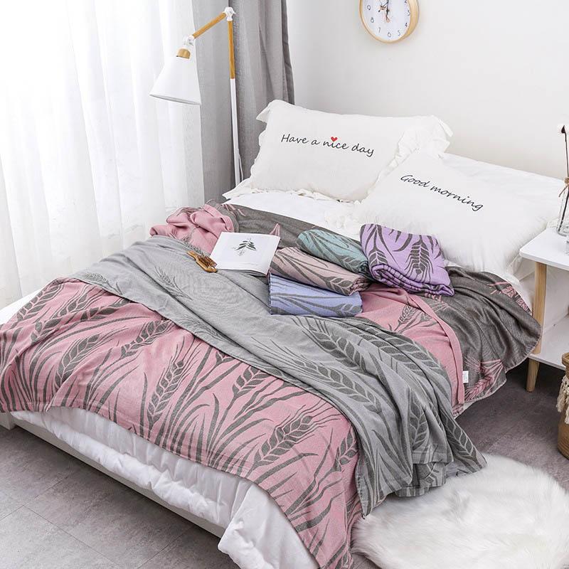 Хлопковое муслиновое летнее одеяло для кровати, дивана, дышащего стиля, мягкое одеяло для пикника, путешествий