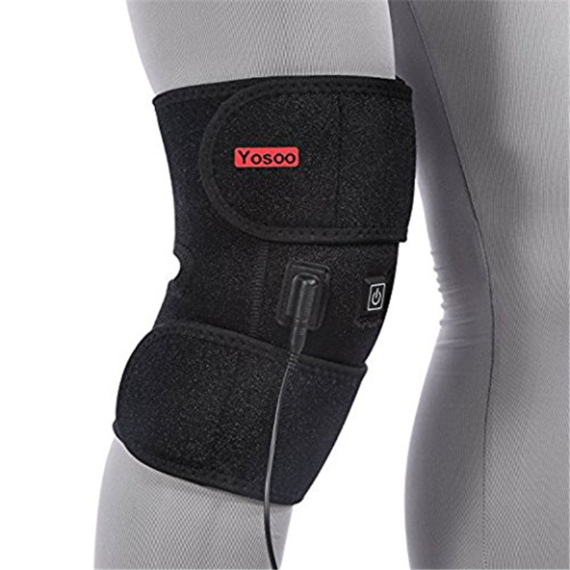 Yosoo Electric Heat Kneepad Therapy Wrap Brace Pad For Cold Compress Knee Injury Arthritis Cold Hot Warm Therapy Pain Relief Pad 1pair health care knee brace support therapy compression sleeves for arthritis meniscus tear acl pain relief injury recovery