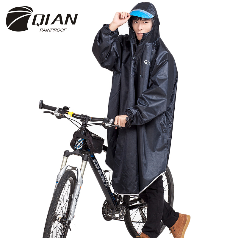 QIAN Impermeable Men/Women Raincoat electrombile/Bicycle Sleeved Rain Poncho Thicker Transparent Hooded Rain Gear Rain Coat