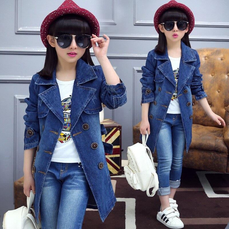Children s Wear Girls Denim Jacket 2017 Spring New Children Long Windbreaker Big Boy Jeans Coat