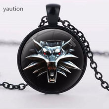 The Witcher 3 cabochon crystal Necklace Pendant wild amulet hunting 3 figure game wolf Gift Chain Sweater glass necklace(China)