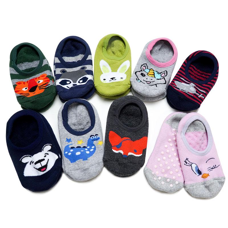 Muslinlife Baby Short Socks Cotton Cartoon Socks Kids Toddler Girls Boys Short Socks Anti-Slip Floor Socks Autumn Winter 4-12T