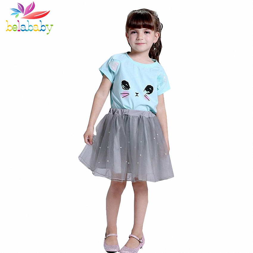 Belababy Girls Clothing Set 2018 Summer New Girls Clothes Bow Cute Cat T-shirt + Lace Tutu Skirt Suit Girl 2PCS Suits Sports muchacha de la what moda de nueva 2016 embroidered cat t shirt in summer eugen yarn skirt suit parent child suit mother girl set