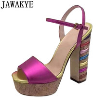 Metal Color High Heel Gladiator Sandals Women genuine leathe