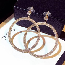 Fashion European Style Big Round Hoop Earrings 2018 Luxury rhinestones round For Women Party Jewelry Gift