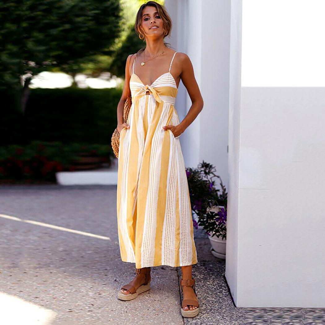 Women Casual V-Neck Spaghetti Strap Striped Print Summer Rompers Front Lace-up Jumpsuits Ankle Length(China)