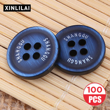 100pcs Resin Solid Pattern Buttons High Grade Wooden Handmade Suit Round Four Holes flat Support Wholesale