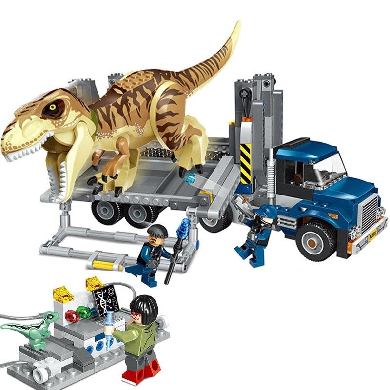 цена New Jurassic World T. Rex Transport Building Blocks Kit Bricks Sets Classic Model Kids Toys Compatible With Legoinglys 75933