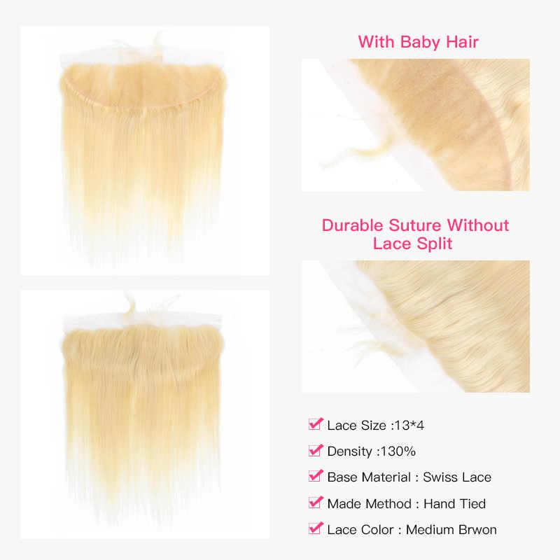 العسل أشقر 613 اللون ريمي ضفيرة شعر برازيلي شعر طبيعي مفرود 2/3/4 حزمة مع 1 قطعة 13x4 الدانتيل إغلاق أمامي الأذن إلى الأذن