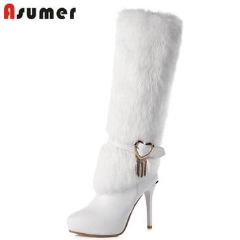 ASUMER 2020 NEW fashion fur+genuine leather boots pointed toe knee high boots for women stiletto high heels zipper winter boots