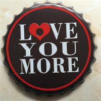 I love you more beer sign metal crafts 40 cm round tin sign home bar pub wall art painting LY83504