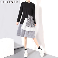 CHICEVER 2017 Striped Autumn Dress For Women Tunic Midi Long Sleeve Female Dresses Ruffles Pleated Casual