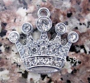 Image 1 - Wholesale Lots 100Pcs DIY Rhinestone Crown Charm Accessories 18*15mm