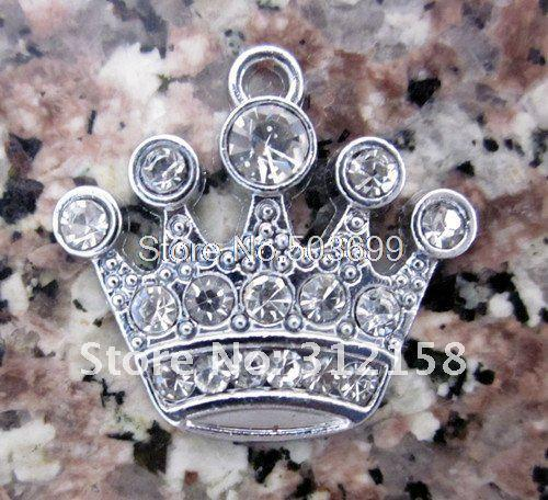 Wholesale Lots 100Pcs DIY Rhinestone Crown Charm Accessories 18*15mm