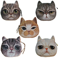 2017 High Quality Oval Cat Face Zipper Purses Women Coin Wallets Kids Money Pouch Female Makeup Buggy Bag