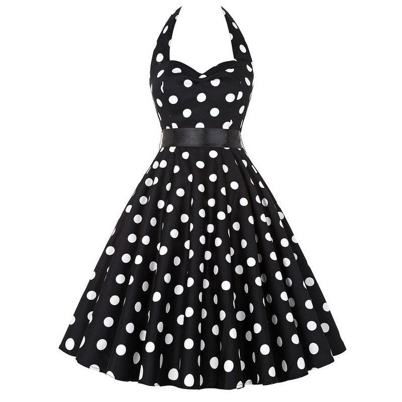 Sexy Halter Party Dress Retro Polka Dot Hepburn Vintage 50s 60s Pin Up Rockabilly Dresses Robe Plus Size Elegant Midi Dress 20
