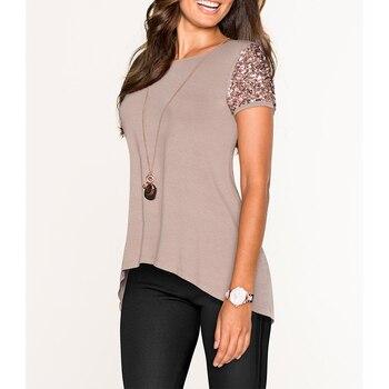 Camiseta de lentejuelas de verano para Mujer, camisetas de manga corta a la moda para Mujer, ropa para Mujer WS9565V 1