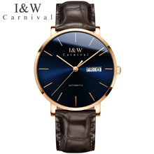 I&W Fashion Automatic Mechanical Watch Men Carnival Top Brand Mens Business Leat
