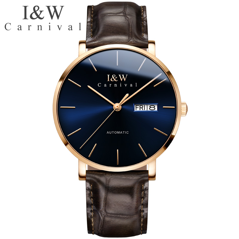I&W Fashion Automatic Mechanical Watch Men Carnival Top Brand Mens Business Leather Wrist Watches Male Clock Relogio Masculino