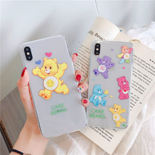 Care bears silicone case for iphone brand 7 8 6 6s plus cute candy bear soft transparent Ultra-thin cover xr x xs max