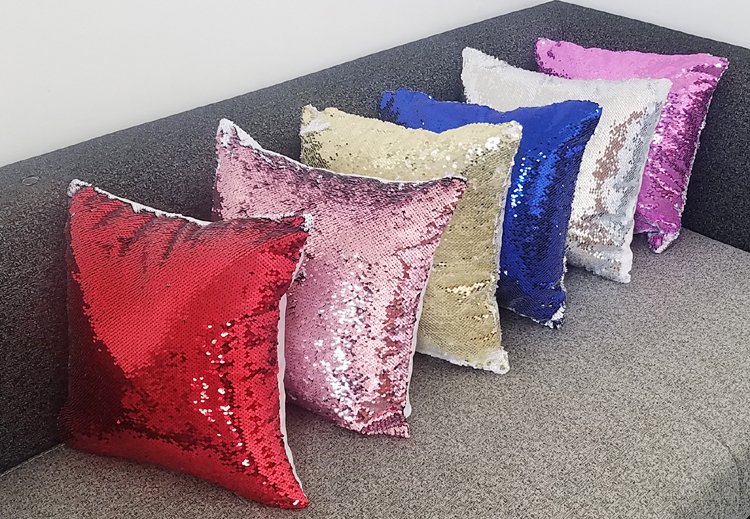 Free Shipping 6pcs/lot New style Sublimation Blank Magical Sequins item  Pillowcase For Sublimation INK Print DIY Gifts 40x40cm