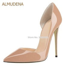ALMUDENA Sexy Pointed Toe Shallow Stiletto Heels Women Nude Patent Leather Dress  Pumps Shoes Celebrity T Stage Banquest Droship almudena hot sale black sexy rivets stiletto heels pointed toe patent leather dress pumps women ultra high heel studded shoes