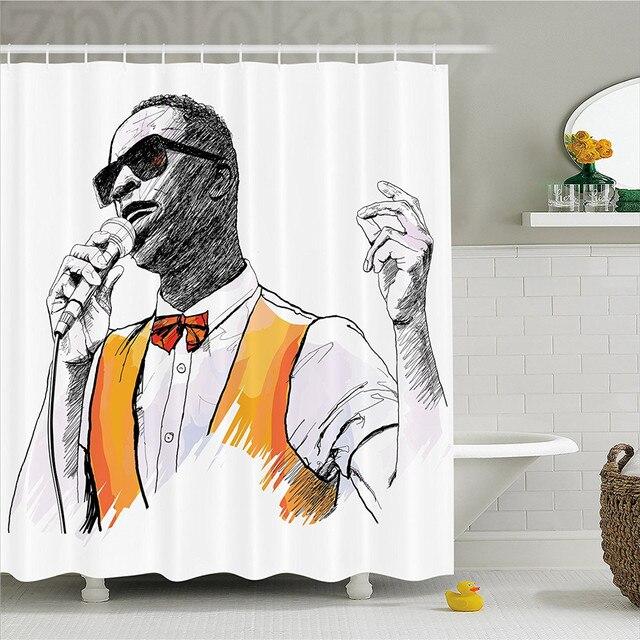 Afro Decor Shower Curtain African American Jazz Singer Performing Music Grunge Artisan Modern Graphic Bathroom