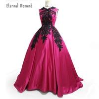 Vintage Formal Evening Dresses High Neck Satin Lace Appliques Arabic Ball Gown Vestido De Noiva Longo