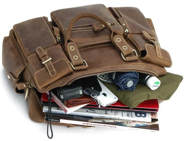 Duffel Erkekler Seyahat Bagaj Çantası Bağbozumu Hakiki Deri Erkek - Bagaj ve Seyahat Çantaları - Fotoğraf 6