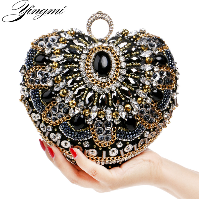 YINGMI Handmade Style Beaded Women Evening Bags Diamonds Embroidery Lady Clutches Chain Shoulder Purse Bags Heart Design Wallets pu women messenger chain shoulder handbags beaded handmade style metal diamonds evening bags leather fashion purse bags