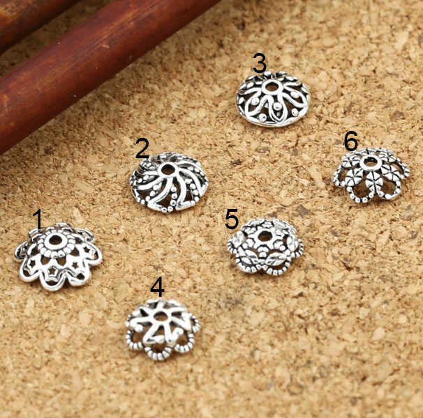 Vintage Handcrafted 925 Silver Beads Cap Hollowed Bead Caps Sterling Silver Jewelry Accessories Bead Cap