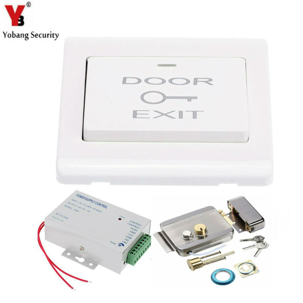 YobangSecurity DC12V Power Supply +Electric Magnetic Door Lock + Exit Door Switch For Home Door Entry Access Control System diy lock system metal keypadl k2 electric control lock 3a power supply exit button 10pcs key cards wireless remote control